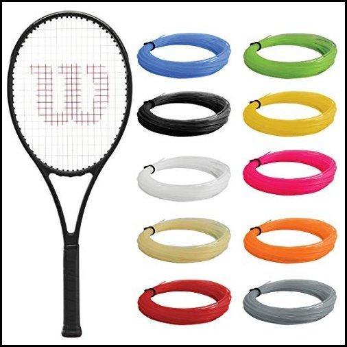 【新品】Wilson Pro Staff 97L v13 テニスラケット (4 3/8インチグリップ) ブラックの合成ガットラケットストリ