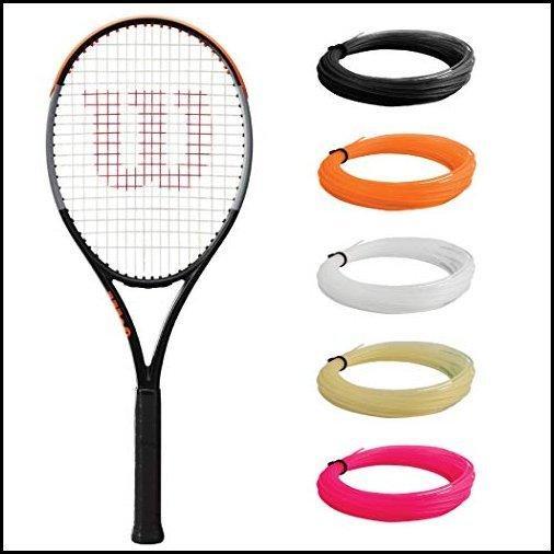 """【新品】Wilson Burn 100 v4 Tennis Racquet (4 1/8"""" Grip Size) Strung with Orange Synthetic Gut Racket String - Best Racquet for Precision"""