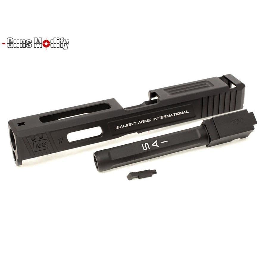 Guns Modify G17 SA Costa CNC Tier 1 アルミスライド&ボックスフルートアウターバレルセット 黒