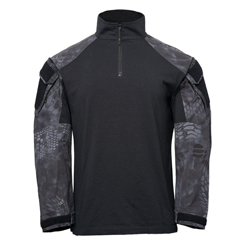 Kryptek クリプテック 正規品 TACTICAL LS ZIP コンバットシャツ 19TACZLSBKT4 黒/TYPHON Mサイズ
