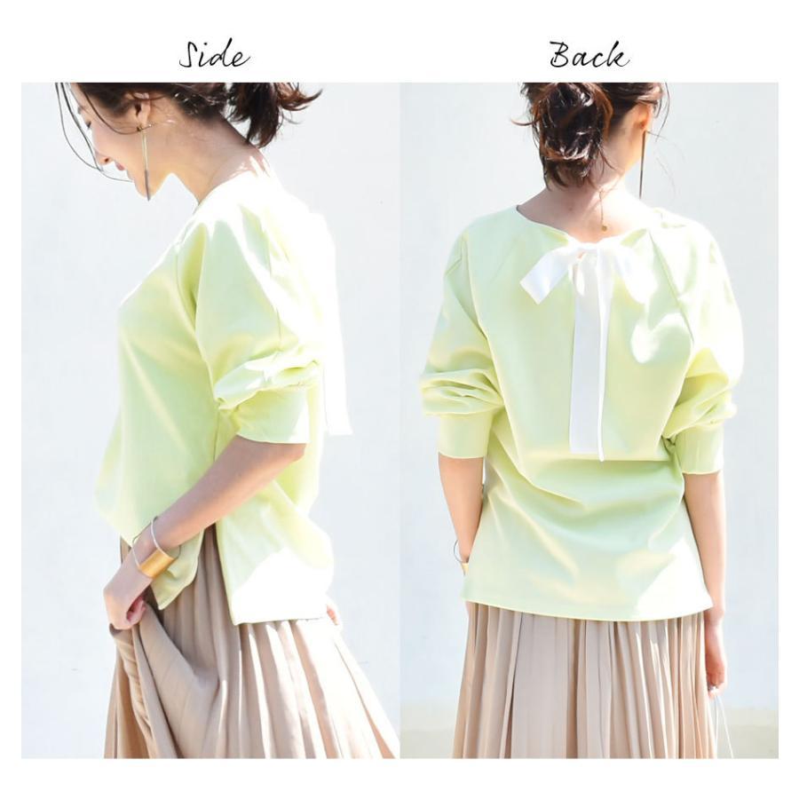 SALE 授乳服 マタニティ エミリーバックリボンパフィ5分袖カットソー 1点までメール便可 ジッパータイプの授乳口 授乳ケープみたいに使える Tシャツ レディース|milktea-mm|21