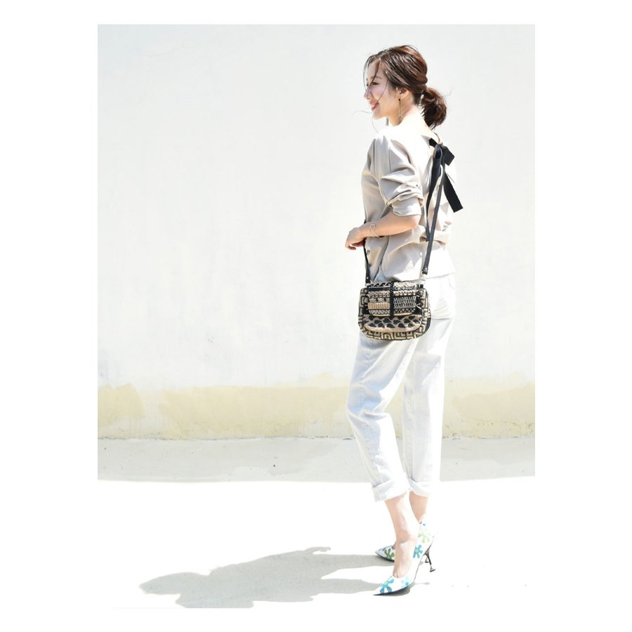SALE 授乳服 マタニティ エミリーバックリボンパフィ5分袖カットソー 1点までメール便可 ジッパータイプの授乳口 授乳ケープみたいに使える Tシャツ レディース|milktea-mm|04