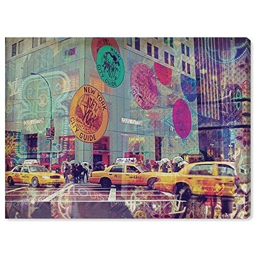 Oliver Gal 10080_20x17_CANV_XHD Olivergal 'NYC Fashion Taxi' キャンバスアートウォールアート、ターコイズブルー、20.0