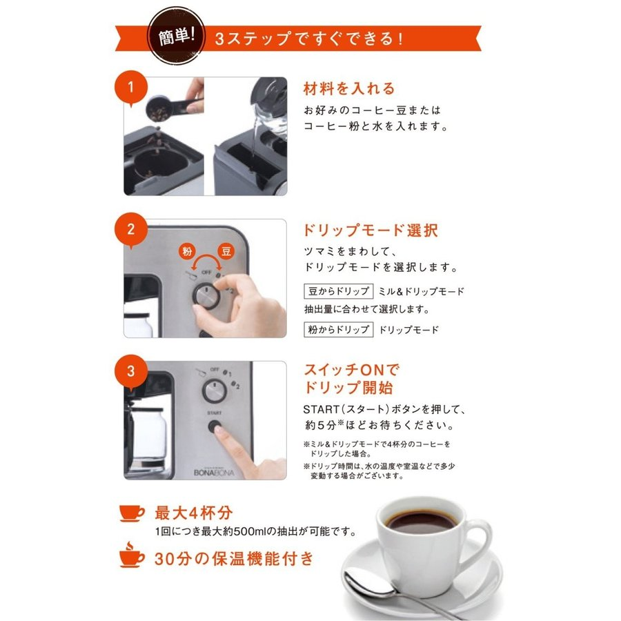 CCP BONABONA 全自動ミル付きコーヒーメーカー(保温機能搭載) 「豆・粉からドリップ可能」 ガラスジャグ付き ブラック BZ-MC millioncacao 07