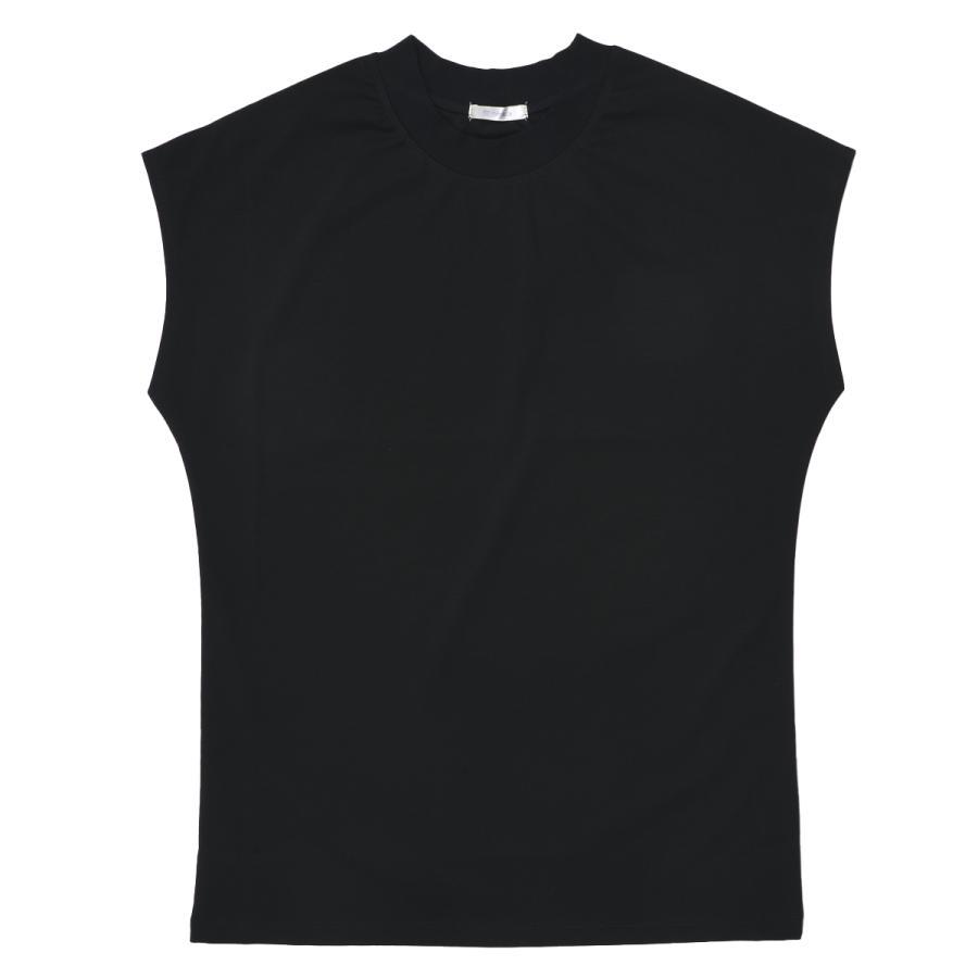 送料無料 シルケットスムース ハイネック スリーブレス TEE レーディス半袖 Tシャツ おすすめ (メール便発送)|mimaca|10