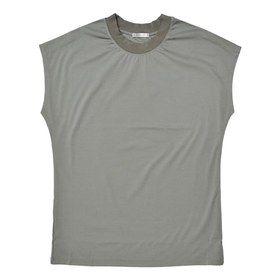 送料無料 シルケットスムース ハイネック スリーブレス TEE レーディス半袖 Tシャツ おすすめ (メール便発送)|mimaca|13