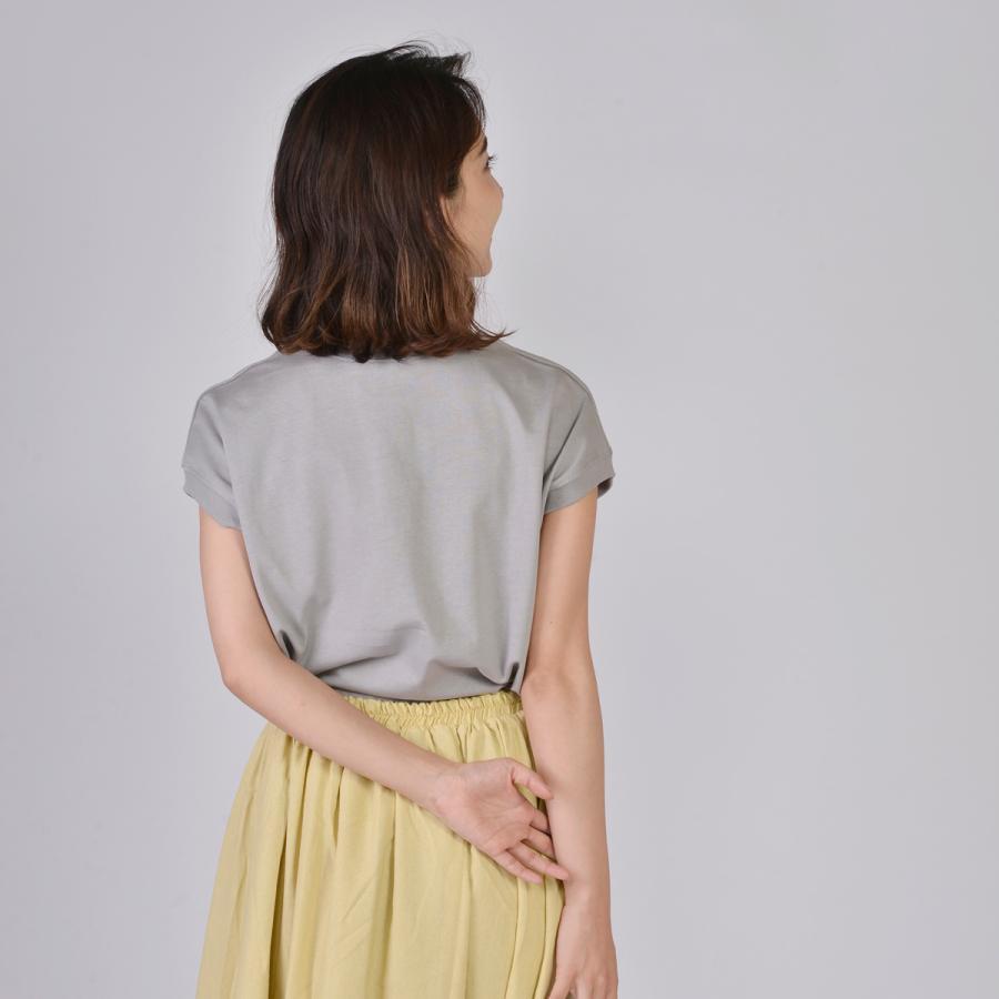 送料無料 ハイネック Tシャツ 天竺バイオ加工  1分袖 TEE (メール便発送)|mimaca|03