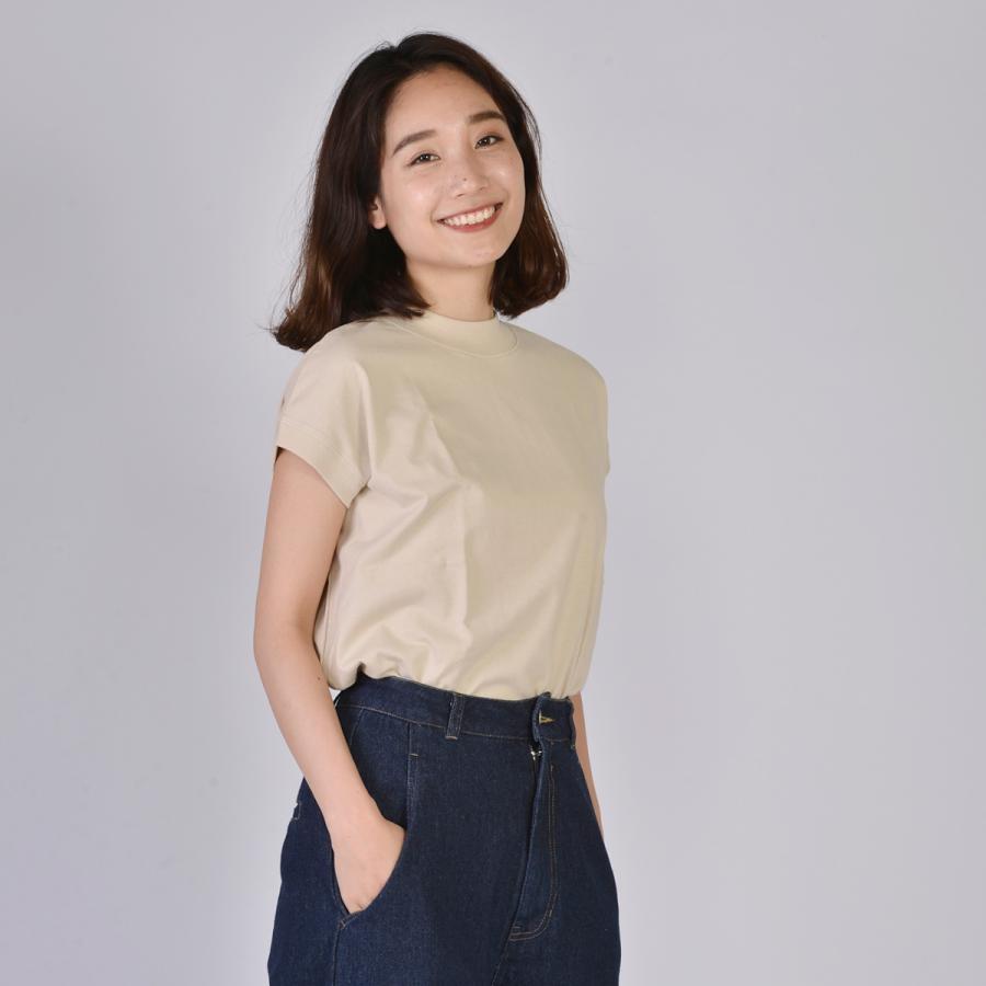 送料無料 ハイネック Tシャツ 天竺バイオ加工  1分袖 TEE (メール便発送)|mimaca|05