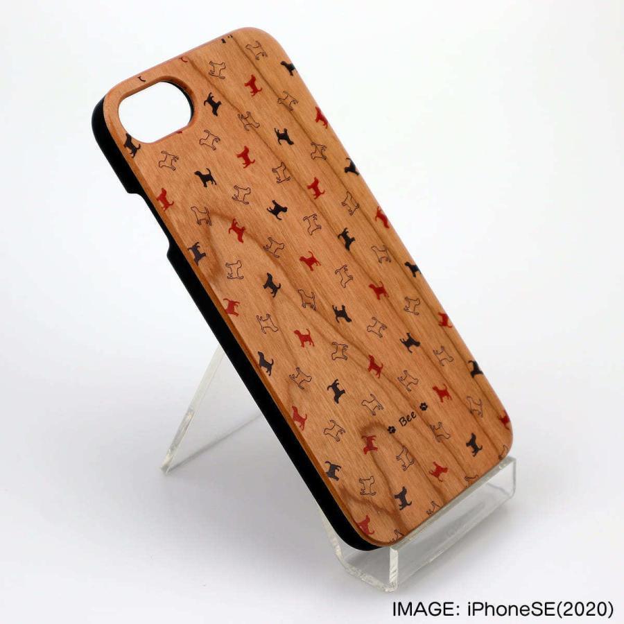 iPhoneケース 犬 犬柄 肉球 木製 スマホケース ウッドケース 名入れと犬種が選べる セミオーダー 犬種パターン11|mimus-shop|06
