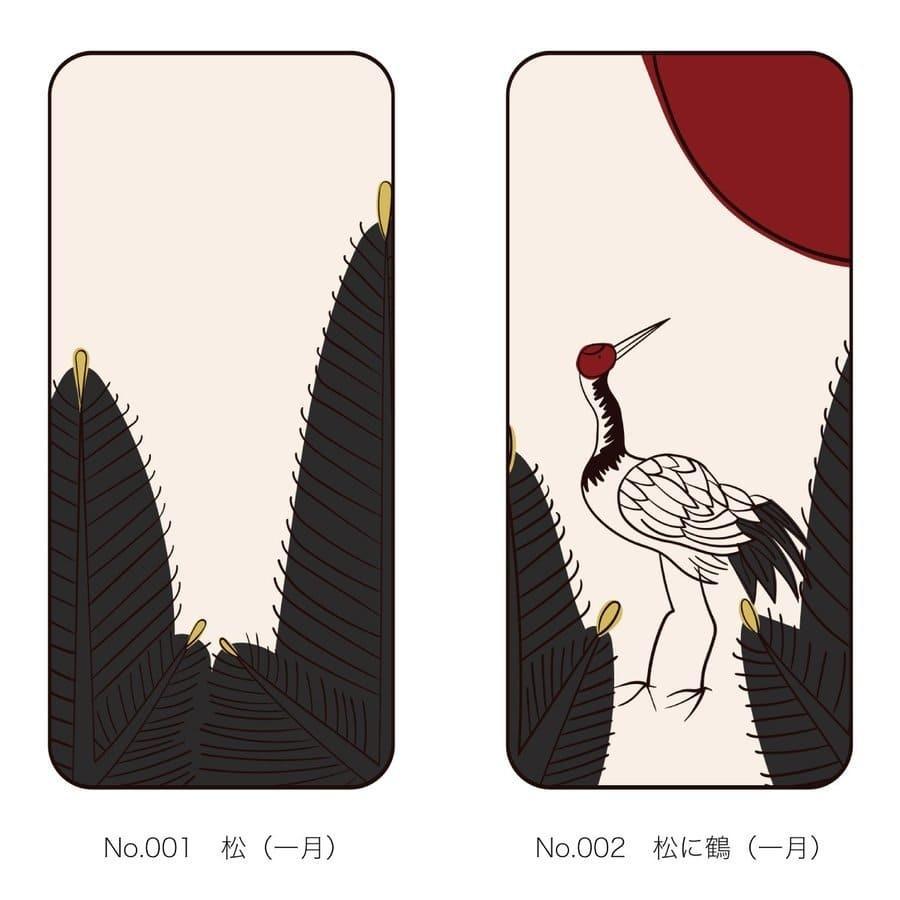 iPhoneケース 花札柄 スマホケース 和風 和柄 レトロ 携帯ケース ソフトケース The Shokunin|mimus-shop|02