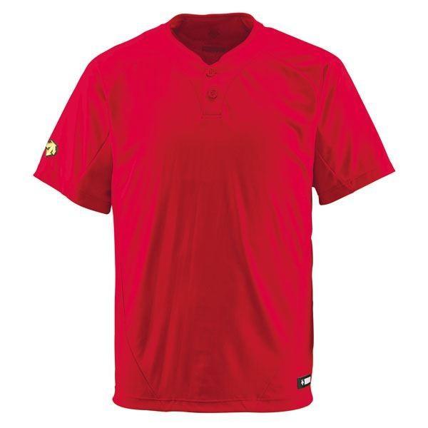 ポイント15倍デサント(DESCENTE) ベースボールシャツ(2ボタン) (野球) DB201 レッド O送料無料