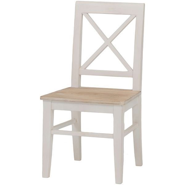 ポイント15倍ダイニングチェア/リビングチェア 木製 座面:桐材 アンティーク調 ホワイト(白)〔代引不可〕送料無料