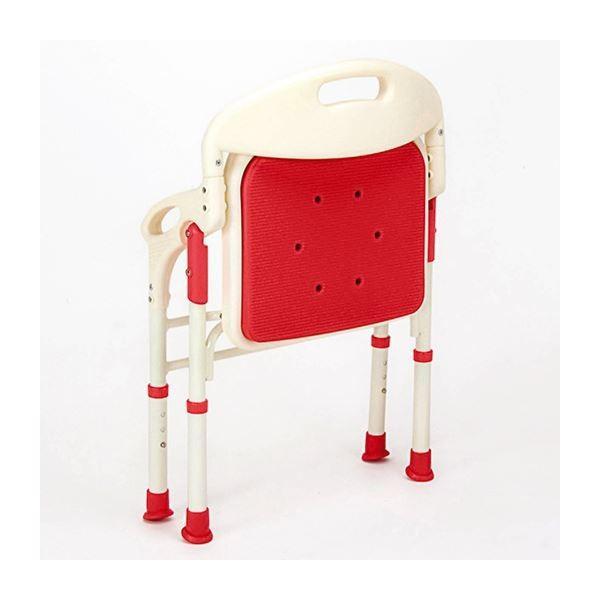 ポイント15倍シャワーベンチ 〔1: 折りたたみ背/肘付き〕 座面高調節可 やわらかマット付き レッド(赤)送料無料