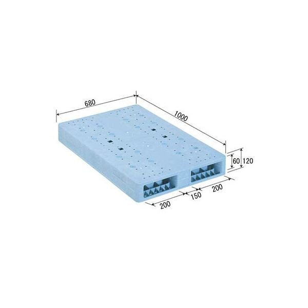 ポイント15倍三甲(サンコー) プラスチックパレット/プラパレ プラスチックパレット/プラパレ プラスチックパレット/プラパレ 〔両面使用型〕 段積み可 R2-068100F ライトブルー(青)〔代引不可〕送料無料 1ba