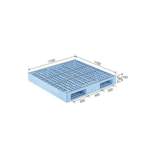 ポイント15倍三甲(サンコー) プラスチックパレット/プラパレ 〔両面使用型〕 段積み可 R2-115115F ライトブルー(青)〔代引不可〕送料無料