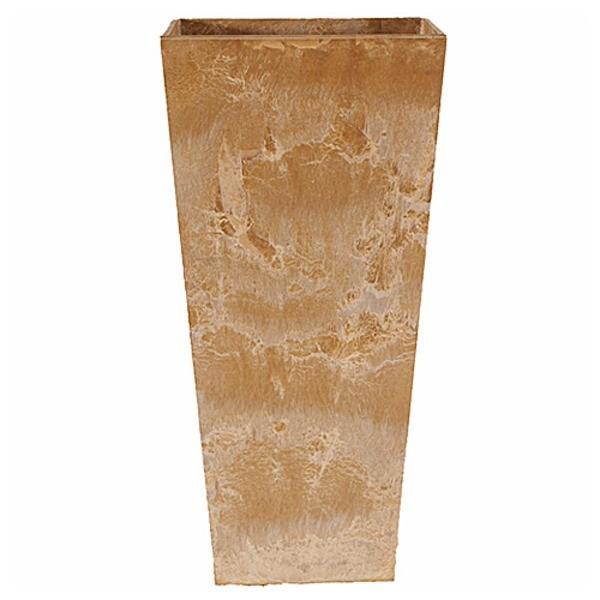 ポイント15倍底面給水型 植木鉢/プランター 〔トールスクエア型 ベージュ 幅35cm×高さ70cm〕 底栓付 『アートストーン』 〔園芸用品〕送料無料