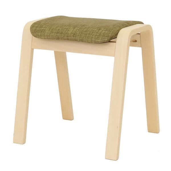 ポイント15倍スタッキングスツール/腰掛け椅子 〔同色4脚セット〕 ファブリック木製脚 グリーン(緑) 〔完成品〕送料無料 〔完成品〕送料無料