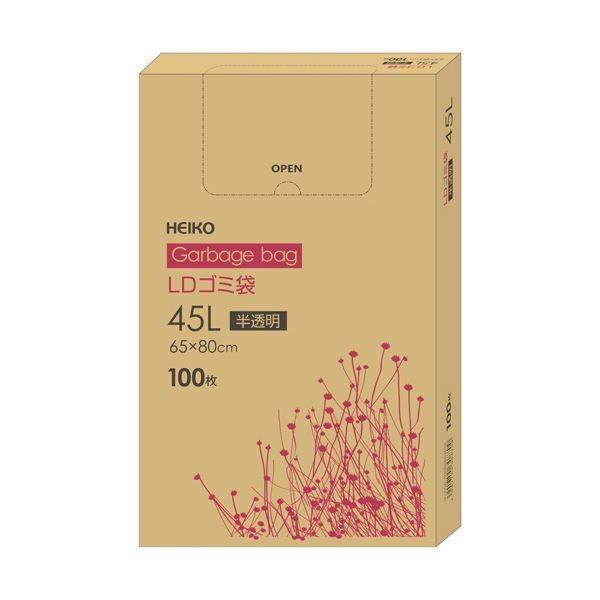 ポイント15倍(まとめ)ヘイコー LDゴミ袋 半透明 90L 6605305 1箱(100枚)〔×2セット〕送料無料