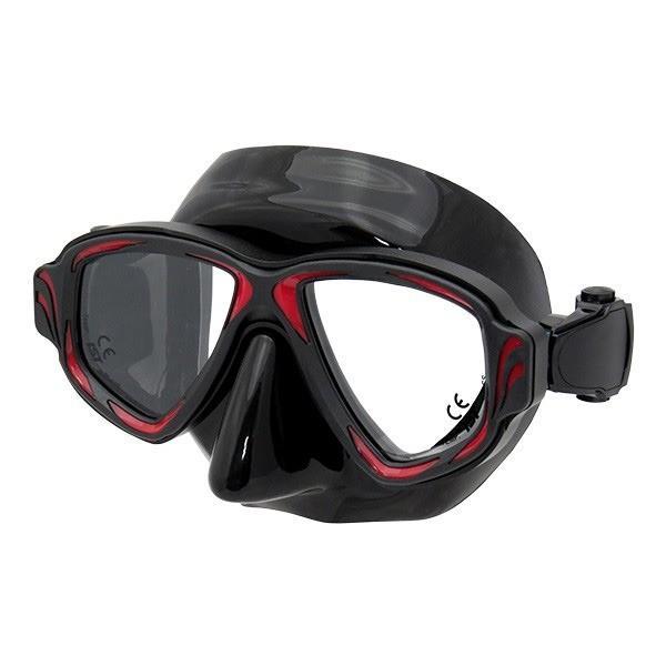 ポイント15倍ダイビングマスク 〔BS-R レッド〕 2眼型 大人用 ハードケース付き 『SYNTHESIS IST PROLINE M-200』送料無料