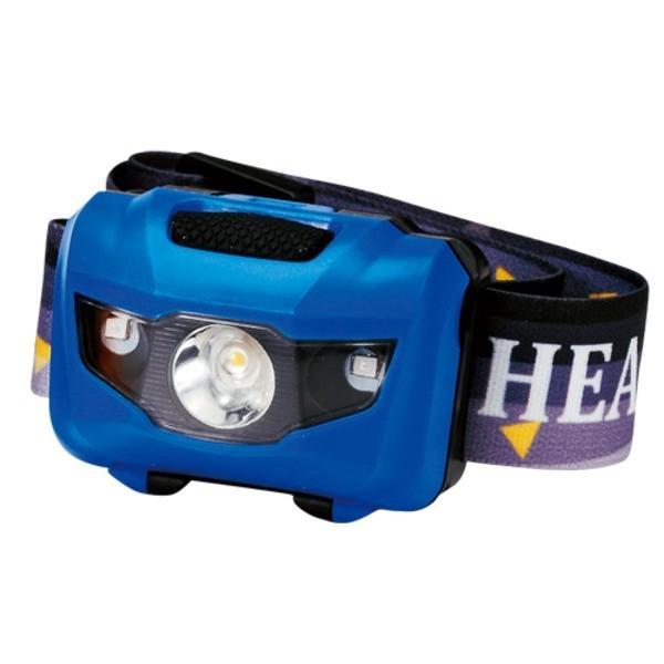 ポイント15倍マルチ ヘッドライト/照明器具 〔ブルー 100個セット〕 ライト:4パターン切替可 〔防災 アウトドア 暗所作業〕送料無料