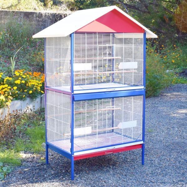 ポイント15倍2部屋式 大型鳥かご オウム ヨウム 大型インコ用 バードゲージ 組立品〔代引不可〕送料無料