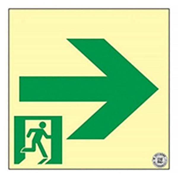 中輝度蓄光式通路誘導標識 「□→」 サイズ:200×200×1.2mm 認定品 【防災用品/避難標識】 minakami119
