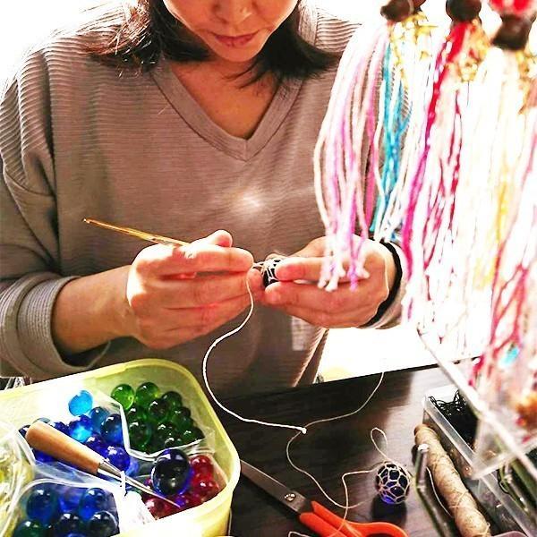 福幸玉 ストラップ 手作り おしゃれ かわいい 浮き球 浮き玉 ビン玉 ガラス玉 ネコポス対応 泊貝っこ|minamisanriku-hukko|03