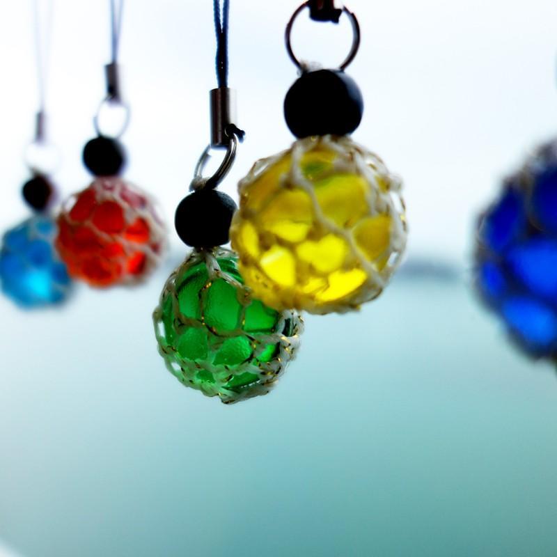 福幸玉 ストラップ 手作り おしゃれ かわいい 浮き球 浮き玉 ビン玉 ガラス玉 ネコポス対応 泊貝っこ|minamisanriku-hukko|04