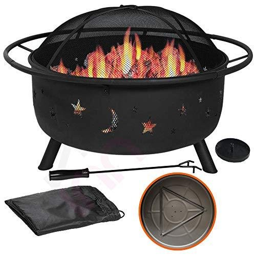 """31"""" Outdoor Fire Pit Set - 6-in-1 Large Bonfire Wood Burning Firepit Bowl - Spark Screen, Fireplace Poker, Ash Plate, Drainage Holes, Metal"""