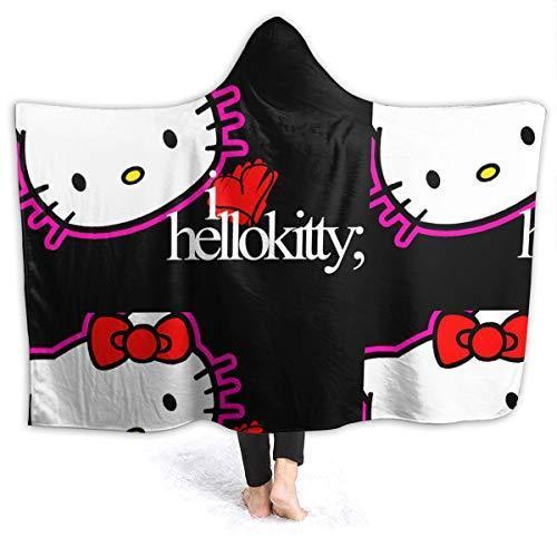 """LIUYAN Fleece Hooded Blanket Hello Kitty Black Throw Blanket for Adults Men Women Girls Boys Kids 80""""x60""""【並行輸入品】"""
