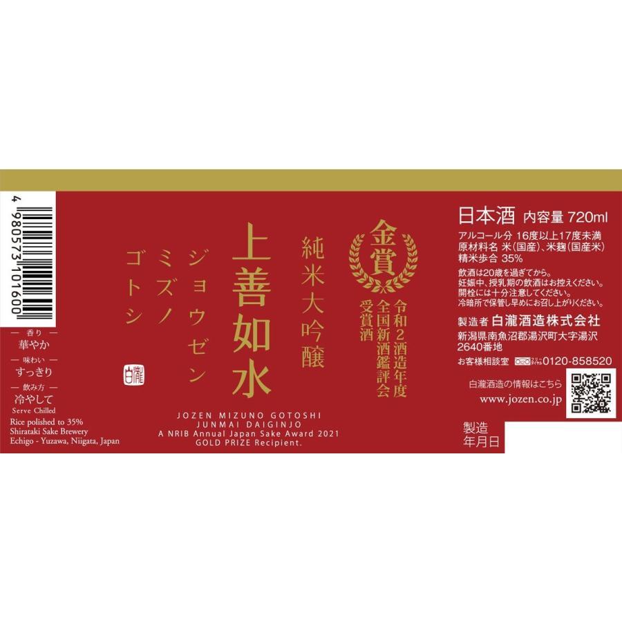 白瀧酒造 上善如水 純米大吟醸 金賞受賞酒 720ml 日本酒 新潟 minatoya 03