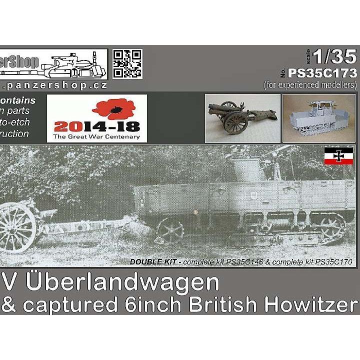 ドイツ軍 A7V牽引車&鹵獲したイギリス軍6インチ榴弾砲 フルキット Uberlandwagen A7V Towing & captu赤 6inch British Howitzer 1/35