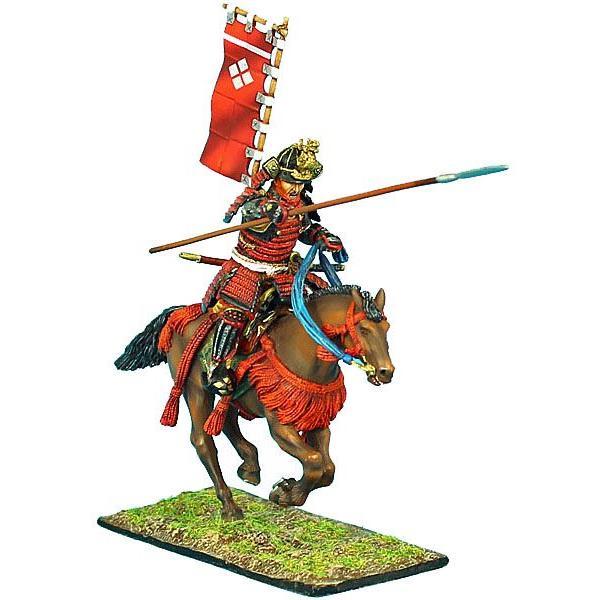 騎馬武者 槍と指物で突撃する(武田勢) Mounted Samurai Charging with Yari and Sashimono - Takeda Clan 60mm[SAM021]