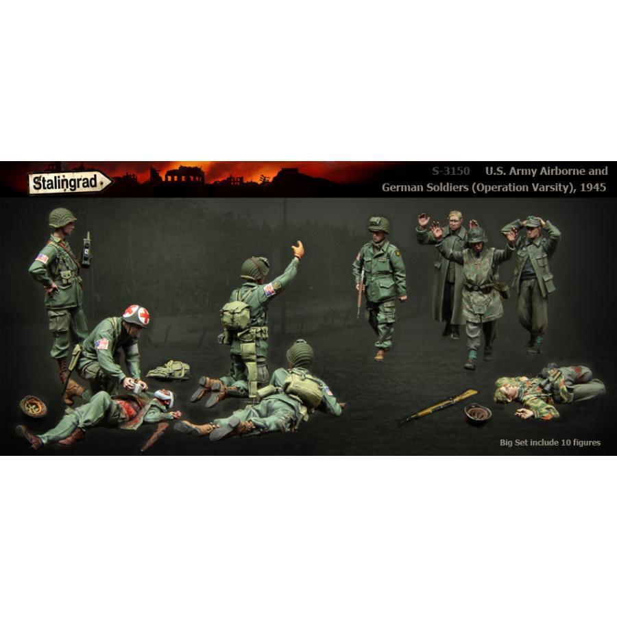 アメリカ陸軍 空挺兵&ドイツ軍 兵士セット ヴァーシティー作戦 1945年(10体入) U.S. Army Airborne and German Soldiers Set 1/35[STL-3150]