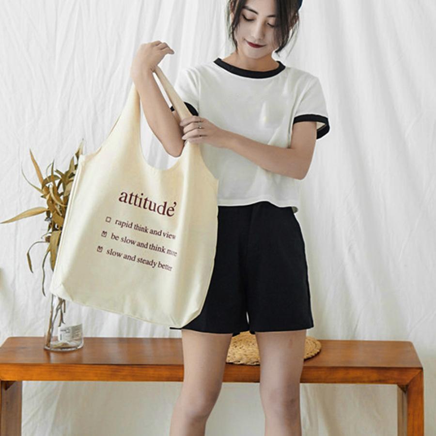 ロゴキャンバスバッグ レディースa4キャンバストートバッグ 大容量 可愛い 布 軽量 エコバッグ 帆布 ホワイト【ネコポス可】|miniministore|11