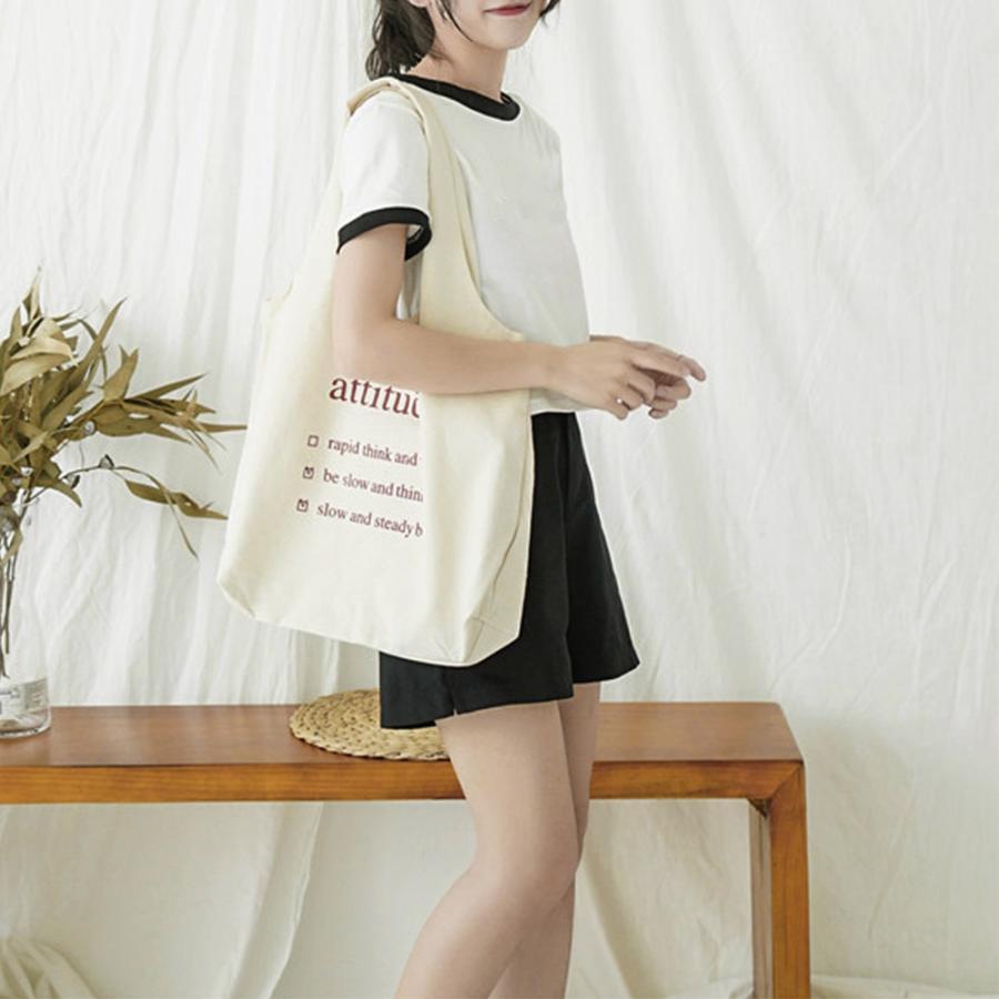 ロゴキャンバスバッグ レディースa4キャンバストートバッグ 大容量 可愛い 布 軽量 エコバッグ 帆布 ホワイト【ネコポス可】|miniministore|12