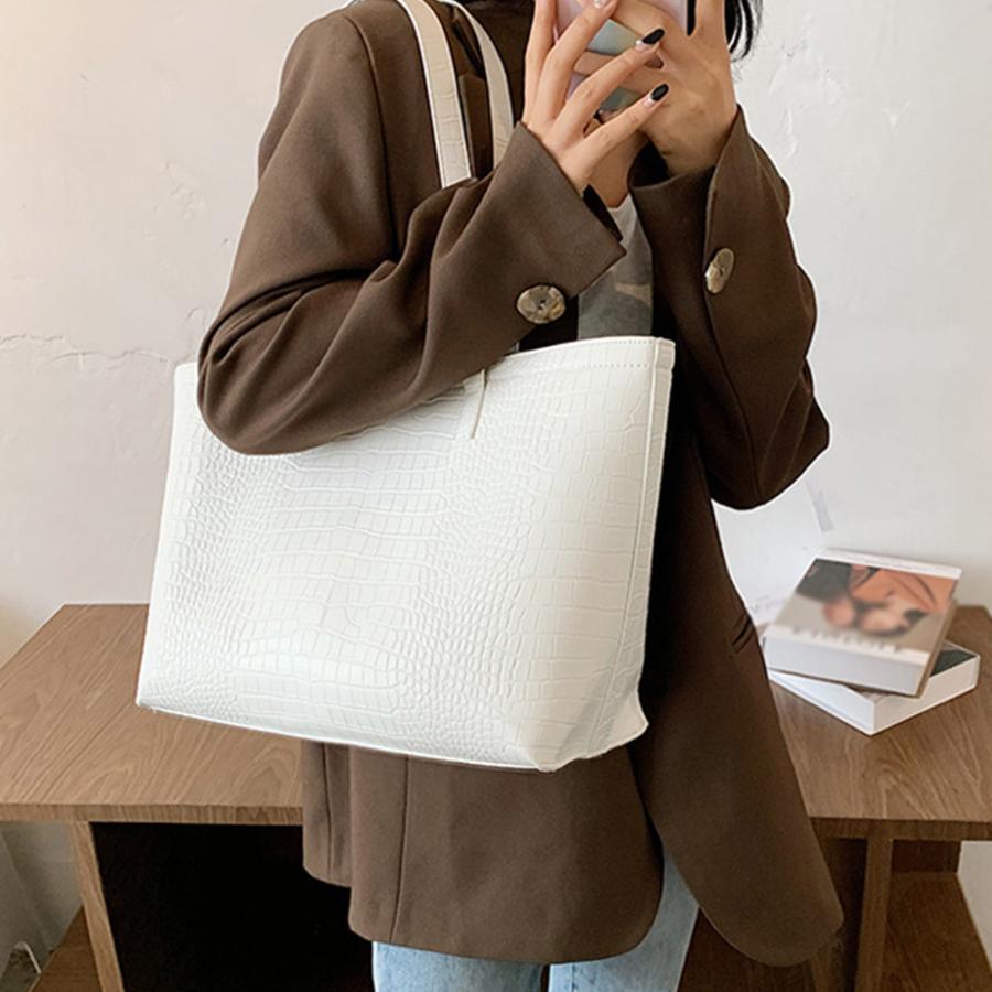 A4 トートバッグ クロコダイル柄 鞄 かばん 大容量 OL 通勤通学 レディース 手提げバッグ ビッグサイズ miniministore 16