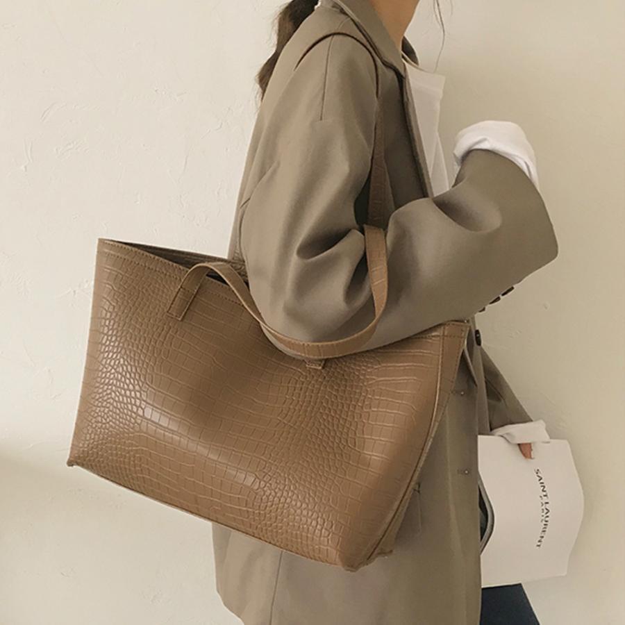 A4 トートバッグ クロコダイル柄 鞄 かばん 大容量 OL 通勤通学 レディース 手提げバッグ ビッグサイズ miniministore 17