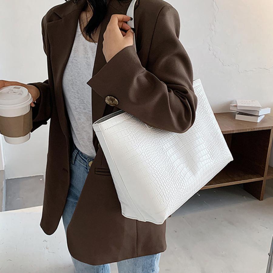 A4 トートバッグ クロコダイル柄 鞄 かばん 大容量 OL 通勤通学 レディース 手提げバッグ ビッグサイズ miniministore 03