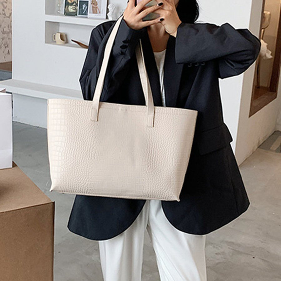 A4 トートバッグ クロコダイル柄 鞄 かばん 大容量 OL 通勤通学 レディース 手提げバッグ ビッグサイズ miniministore 05