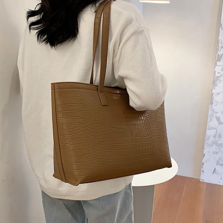 A4 トートバッグ クロコダイル柄 鞄 かばん 大容量 OL 通勤通学 レディース 手提げバッグ ビッグサイズ miniministore 06