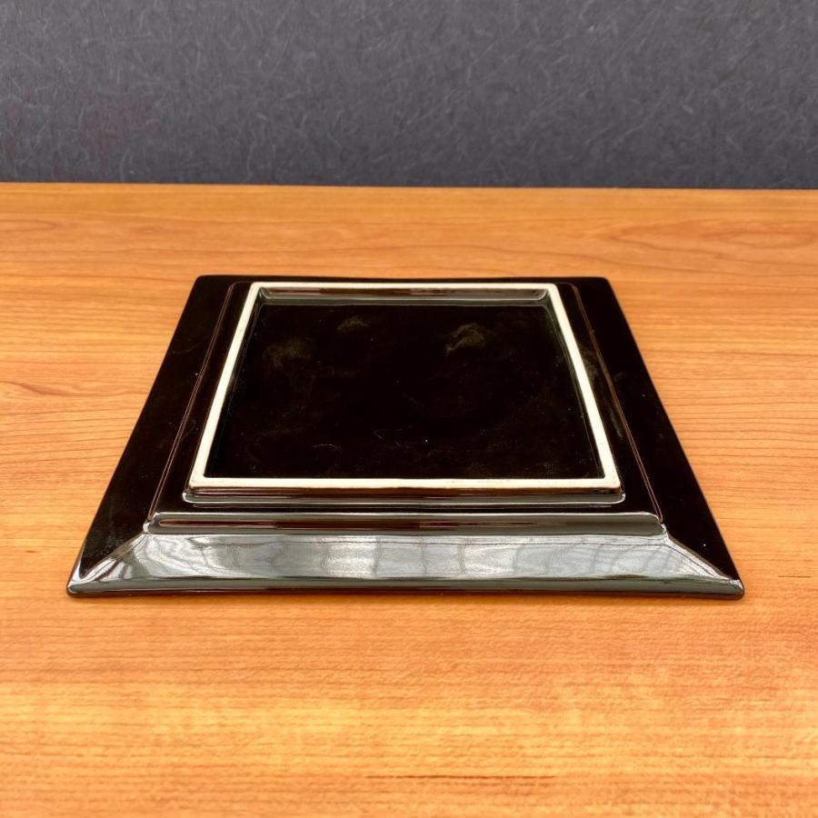 角皿 プレート おしゃれ 食器 ブラックシルバープレート 17.5cm アウトレット|minopota|06