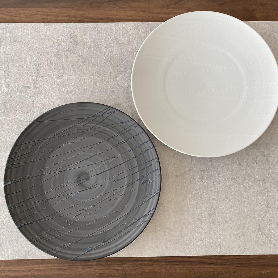 丸皿 プレート 食器 波吹き28.5cm皿 陶器|minopota|03