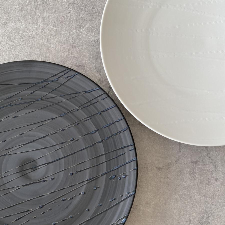 丸皿 プレート 食器 波吹き28.5cm皿 陶器|minopota|04