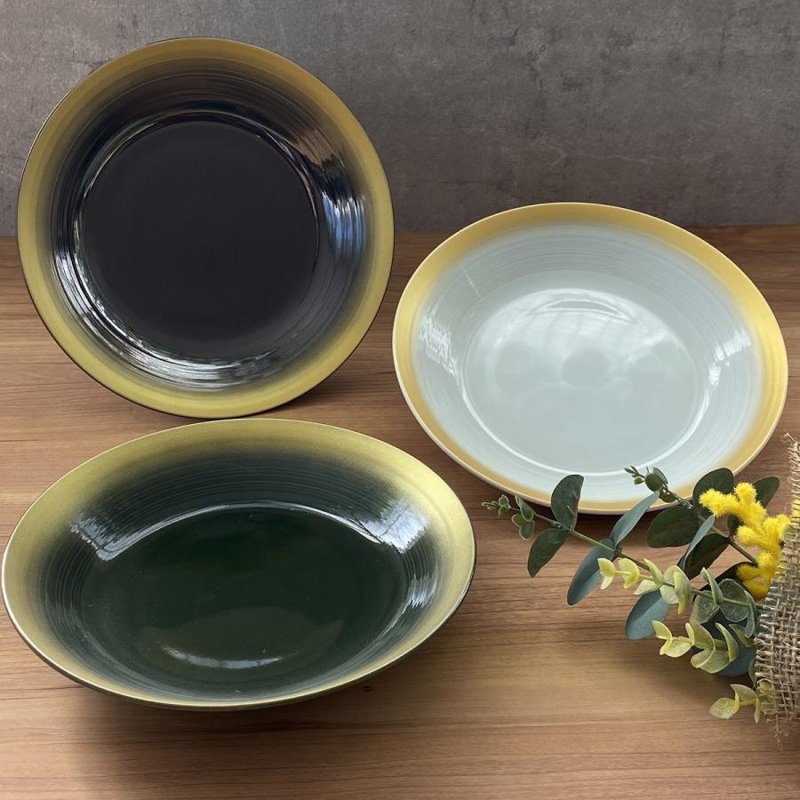 丸皿 金彩吹21cm深皿 ゴールド 食器 うつわ 陶器 美濃焼|minopota