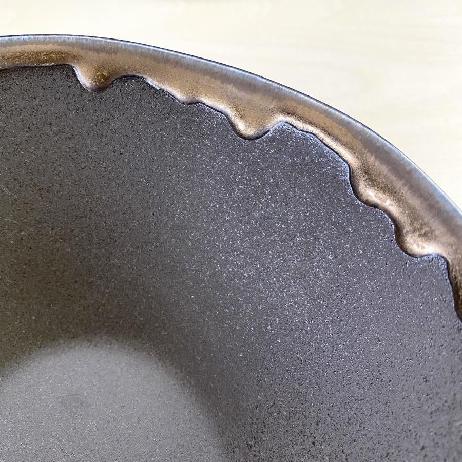 鉢 ボウル 盛鉢 おしゃれ ボール 金流したわみ 中鉢 17.3cm 盛皿 皿 食器 陶器 minopota 07