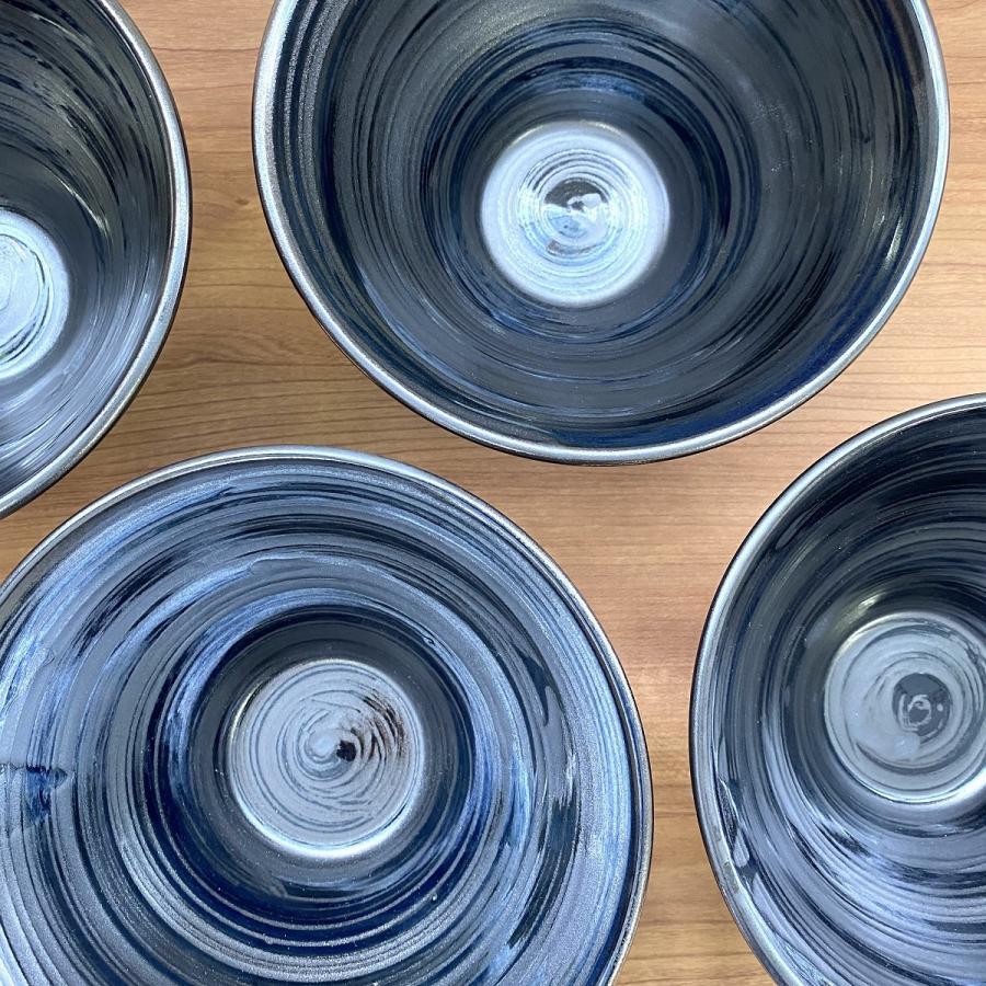 丼 どんぶり ボウル おしゃれ 刷毛巻銀彩 そり丼 18.6cm ラーメン うどん 鉢 ボール 食器 陶器 minopota 05