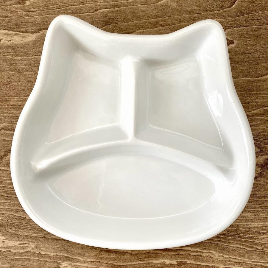 キッズ ランチプレート ねこちゃんキッズプレート 食器 うつわ 陶器 白いうつわ ネコ 猫|minopota|02