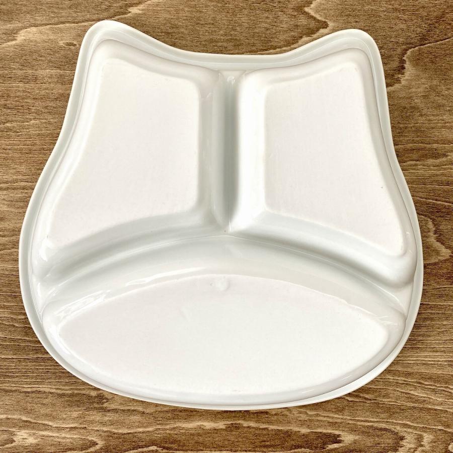 キッズ ランチプレート ねこちゃんキッズプレート 食器 うつわ 陶器 白いうつわ ネコ 猫|minopota|05