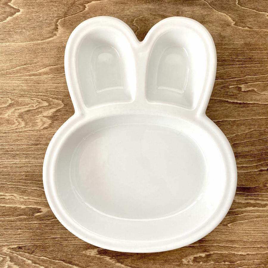 キッズ ランチプレート うさぎちゃんキッズプレート 食器 うつわ 陶器 白いうつわ|minopota|02